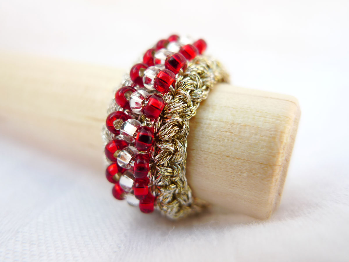 Ruby Textile Beaded Ring